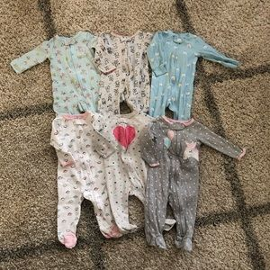 Carter's Baby Girl Bundle of 6 Sleep N Play Zip 9M